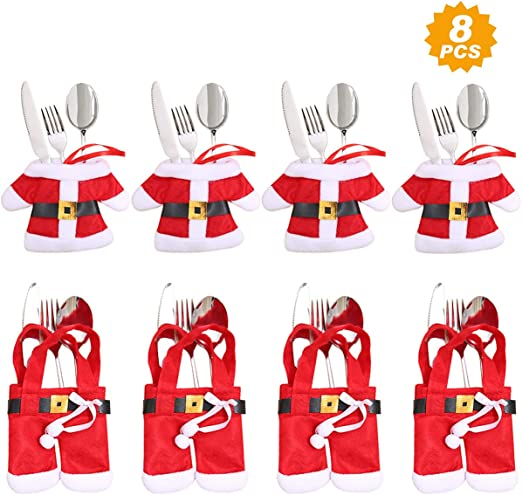 Santa Claus Kids Xmas Party Snowman Suit Christmas Cutlery Gift Holder 8pk