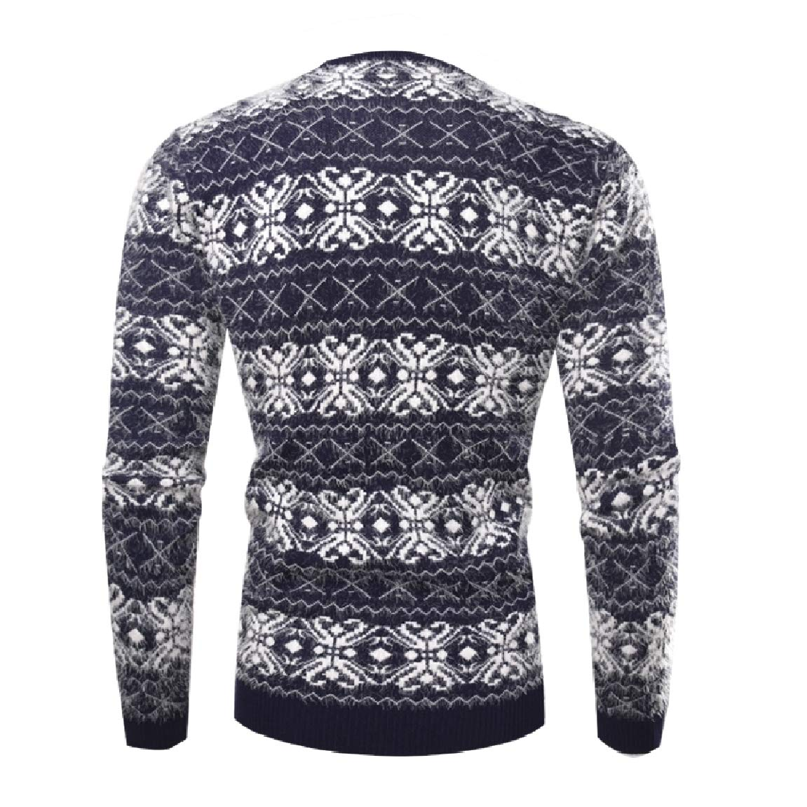 Mirrliy Mens Stripe Spell Color Long Sleeves O-Neck Sweaters Tops Blouse