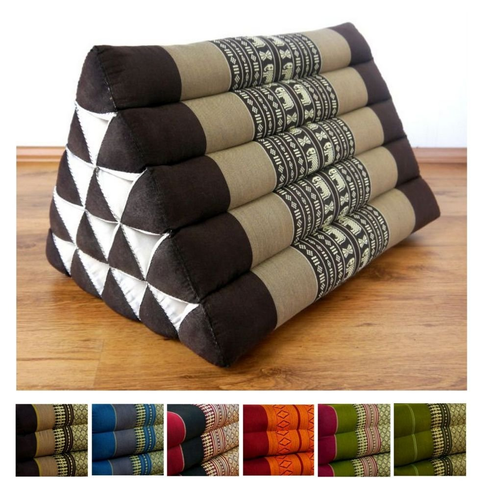 LivAsia Throw Pillow, 22x16x14 inches (LxWxH), 100% Natural Kapok Filling, Triangle Cushion, Headrest, Thai Pillow by LivAsia