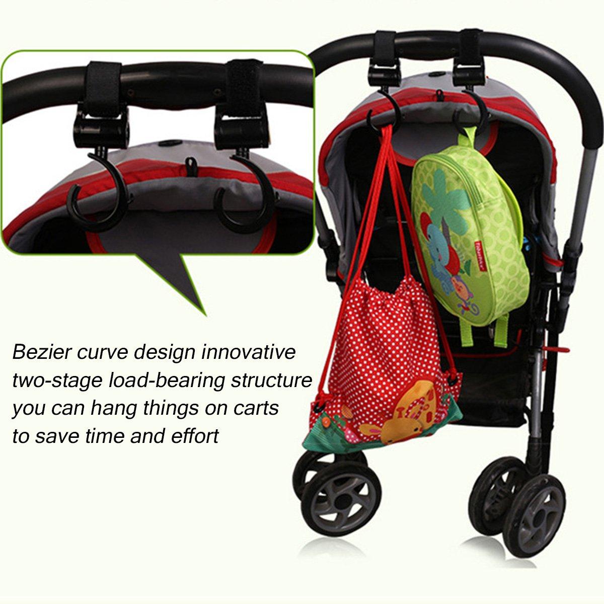 2 Stück Baby Kinderwagen Haken Clip Drehbar Buggy Mummy Tasche