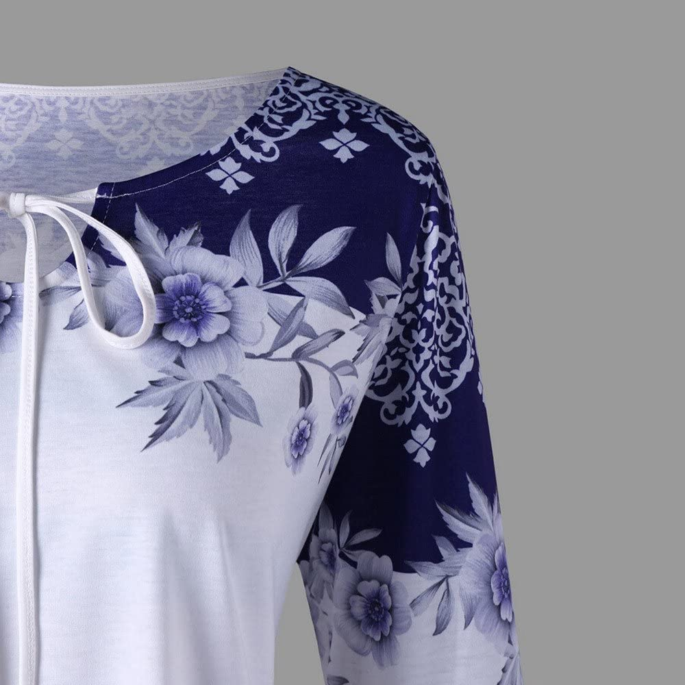 Alangbudu Women Blouse Casual Keyhole Crewneck T Shirt Bell Long Sleeve Printed Flowy Long Swing Tunic Tops for Leggings