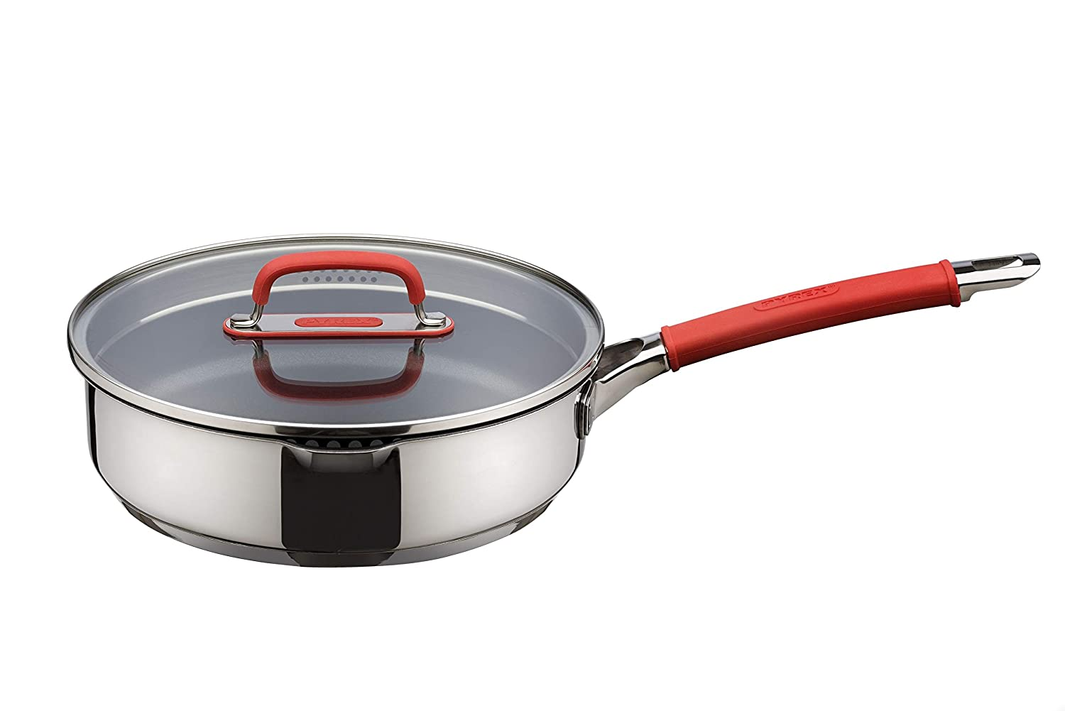 Pyrex Passion Cookware 24cm Non Stick Sauté Pan with Lid - Stainless Steel with RedHandles