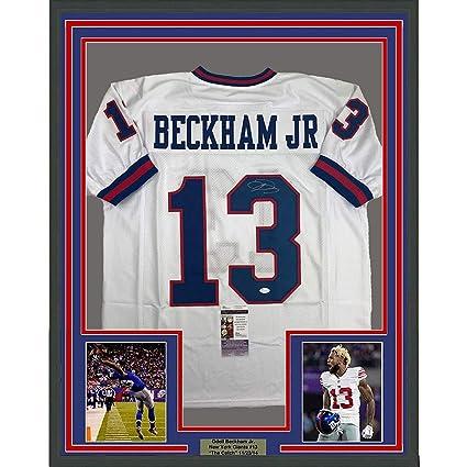 5404bcd23 ... netherlands framed autographed signed odell beckham jr. 33x42 new york  giants color rush football jersey