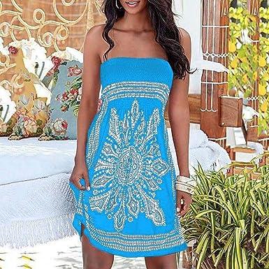 VJGOAL Las Mujeres de Verano Sexy sin Tirantes de Estilo étnico Individual Imprimir Bohemian Casual Mini Beach encubrimientos de Vestir: Amazon.es: Ropa y ...