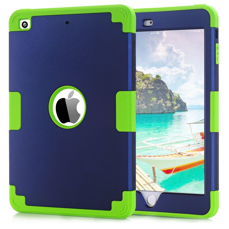 BENTOBEN Coque iPad Mini Coque iPad Mini 2 Coque iPad Mini 3 Etui de Protection en PC Rigide + Silicone Souple avec Trois Couche Antichoc pour iPad Mini 1/2/3 Retina sans Support, Bleu & Vert XDD-M362-06/EU-FBA1