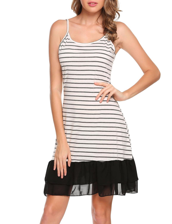 Finejo Womens Full Slip Under Adjustable Spaghetti Strap Cami Mini Dress