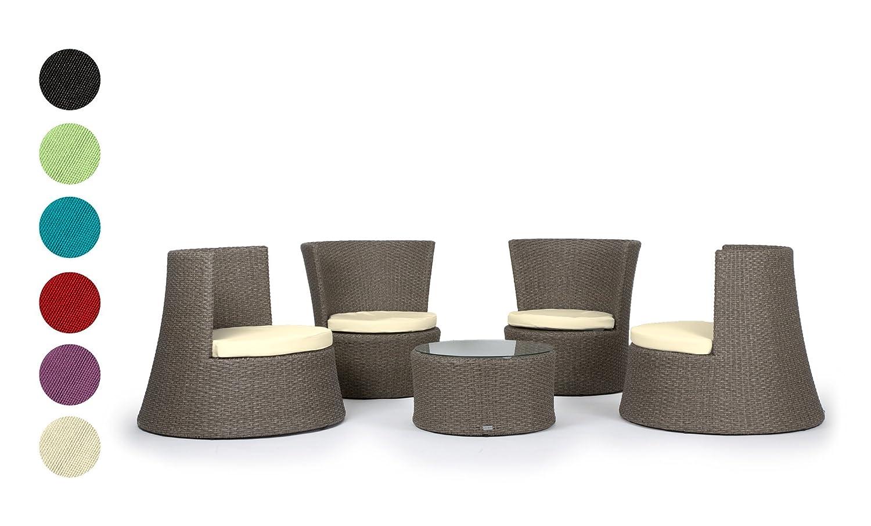 Deluxe Sitzgruppe PISA 5 teilig STAPELBAR 3 Jahre Garantie Rattanfarbe grau braun aufgeraut Kissenbezüge schwarz