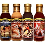 Walden Farms Blueberry, Strawberry, Caramel, and Chocolate Syrup 12oz 4 Pack (Variety, 4)