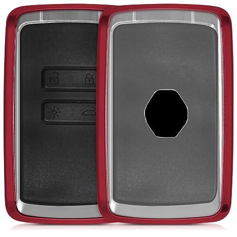 kwmobile Funda para Llave Smart Key de 4 Botones para Coche Renault (Solamente Keyless Go) - Carcasa [Suave] de [TPU] para Llaves - Cover de Mando y ...