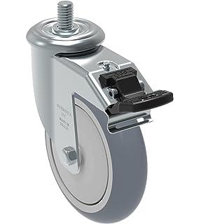 Schioppa L10 Series 10 mm Diameter x 40 mm Length Threaded Stem 2 GLEFF 210 GEL Black FPI 50 mm Swivel Brake Caster Non-Marking Polyurethane Whl 90 lbs