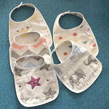 5 Cargados bebé Babero Gasa de algodón Toalla de Saliva bebé 6 Capas de Gasa Doble Hebilla Babero recién Nacido Cuatro Estaciones: Amazon.es: Hogar
