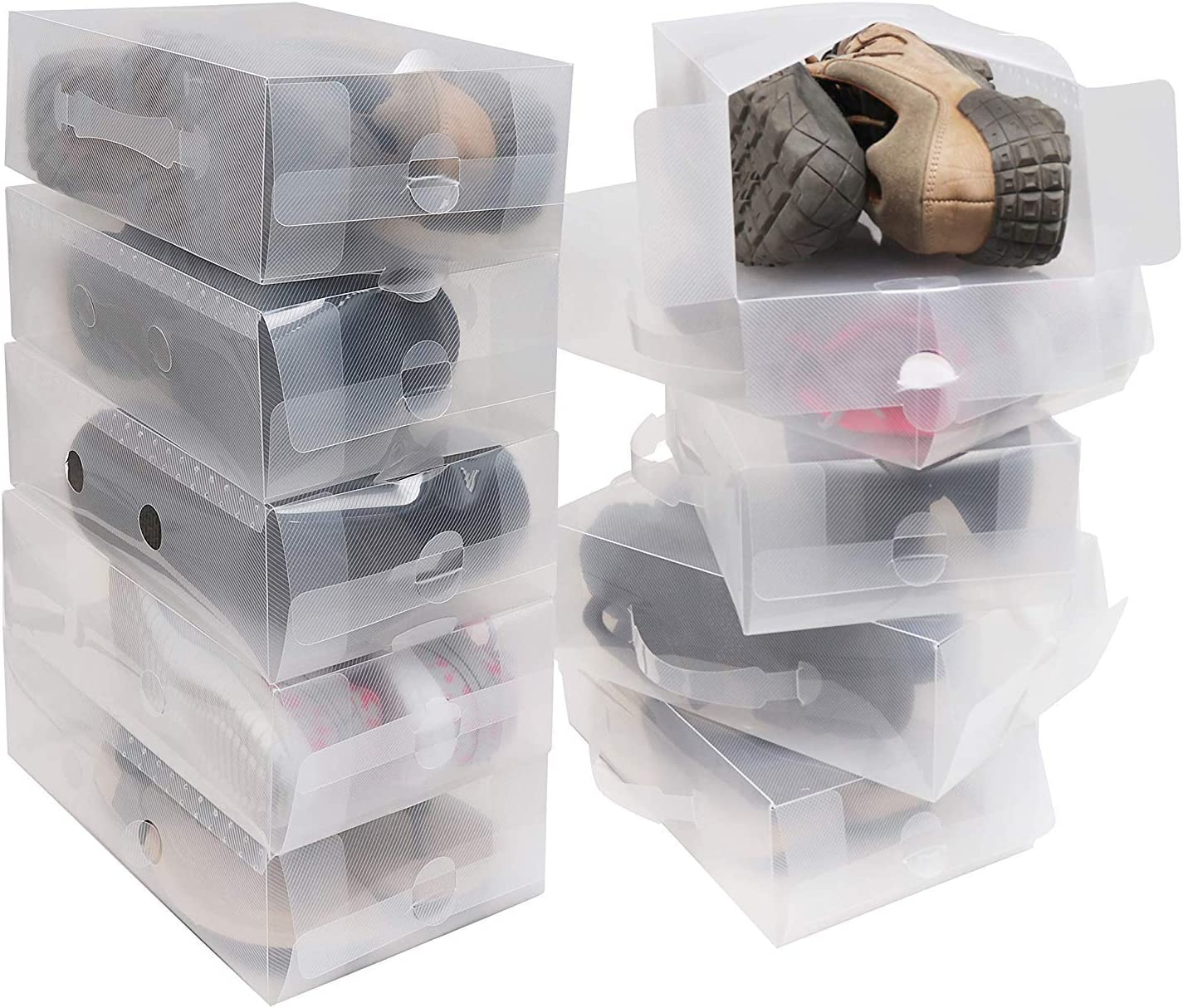 Shoe Storage Box 10 Pack - Clear Corrugated Plastic Shoe Boxes - Collapsible Foldable Shoe Organizer Can Fit Shoes, sandals - Ideal for Travel