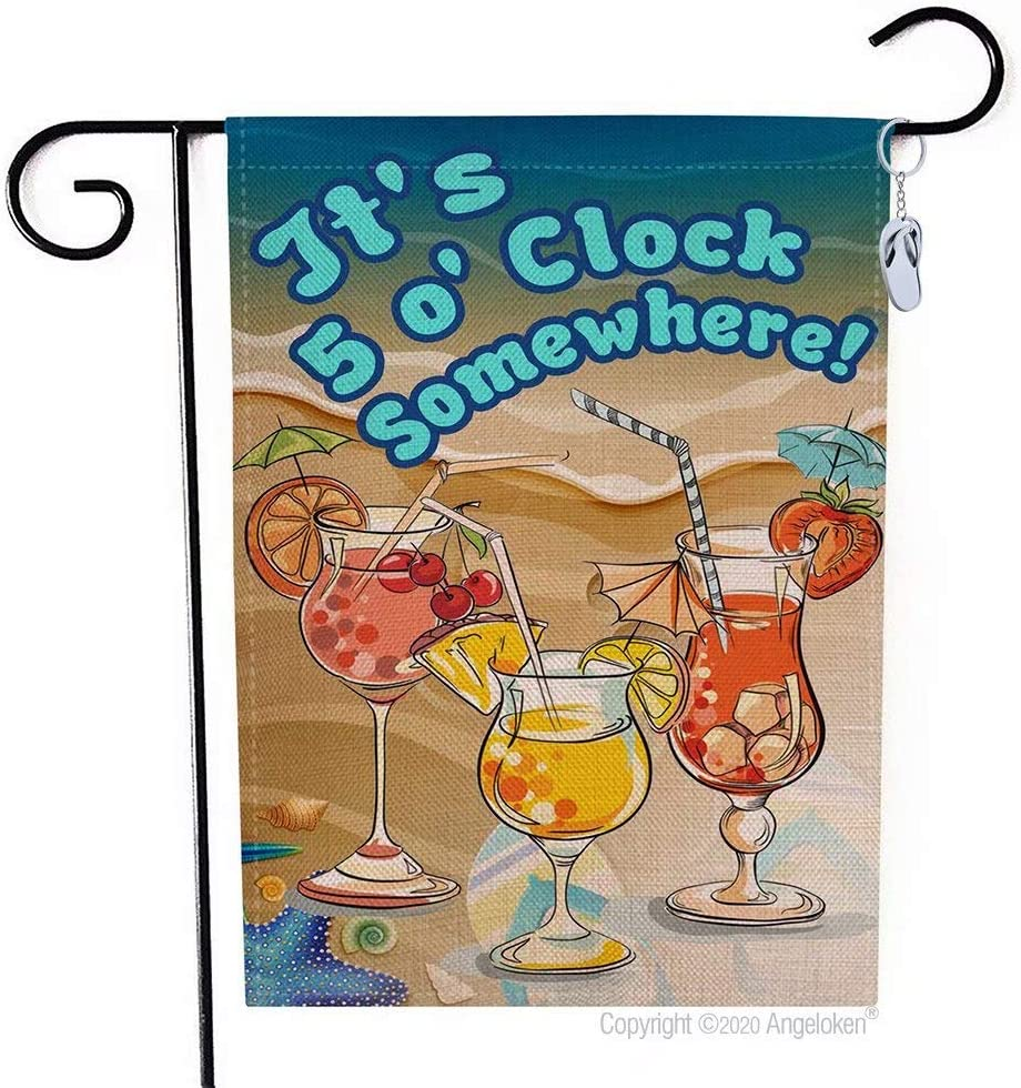 Angeloken Funny Garden Flag Vertical Double Sided It's 5 o' Clock Somewhere!Yard Flag Farmhouse Spring Summer Yard Lawn Outdoor Decoration Burlap Garden Banner 12.5 X 18 Inch