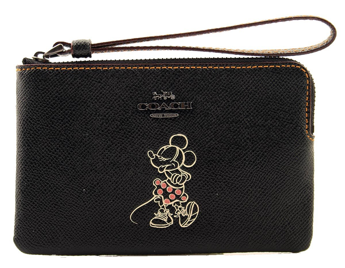 Coach x Disney Corner Zip Leather Wristlet with Minnie Mouse in Black