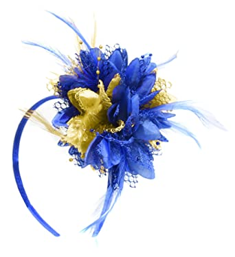 790504d96f Electric Royal Blue and Gold Fascinator on Headband for Ascot Weddings   Amazon.co.uk  Clothing