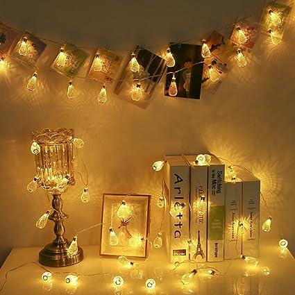 Amazon.com : Goodia Battery Operated 10.5ft 30 LED Curtain Light ...
