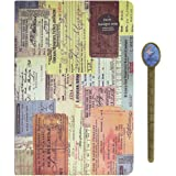 Travel Diary Compact Journal World Vacation Planner Hardcover Traveler Vintage Memory Book Travelling Story Record Pad A5 with Bookmaker-Ruler