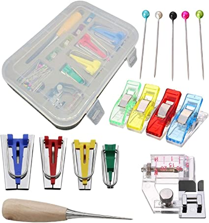 Fabric Bias Tape Maker Kit Set for Sewing Quilting Awl and Binder Foot Case Tool