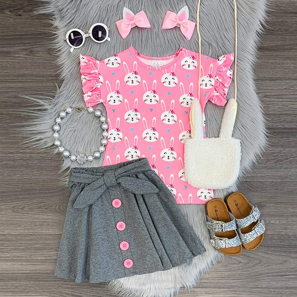 Button Skirt Set NIHAI 2Pcs Fashion Girls Baby Kids Short Sleeve O-Neck Cartoon Bunny Print Top T-Shirt