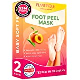 DERMATOLOGICALLY CERTIFIED EXFOLIATING Foot Peel Mask for Baby Soft Feet by Plantifique- 10X MORE EFFECTIVE for Calluses, Dea