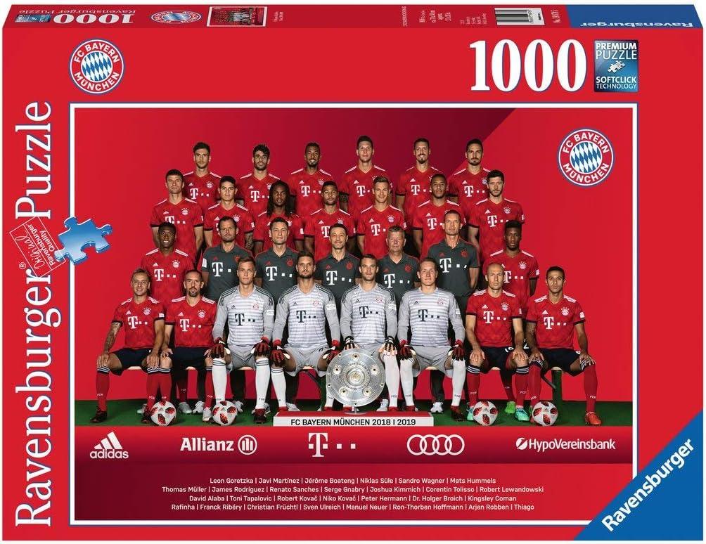 Ravensburger Erwachsenenpuzzle 19879 FC Bayern Saison 2018/19, Puzzle Temporada, Color carbón, 1000 Teile