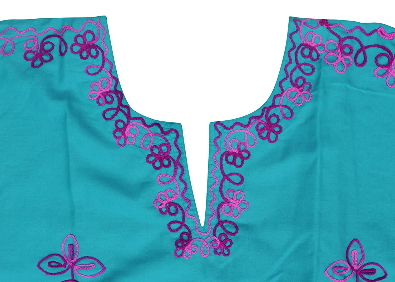 LA LEELA Boho Women Rayon Embroidered Tunic Caftan Kimono Oversized Short Midi Loungewear Holiday Nightwear Everyday Beach Cover UP Plus Size Kaftan S