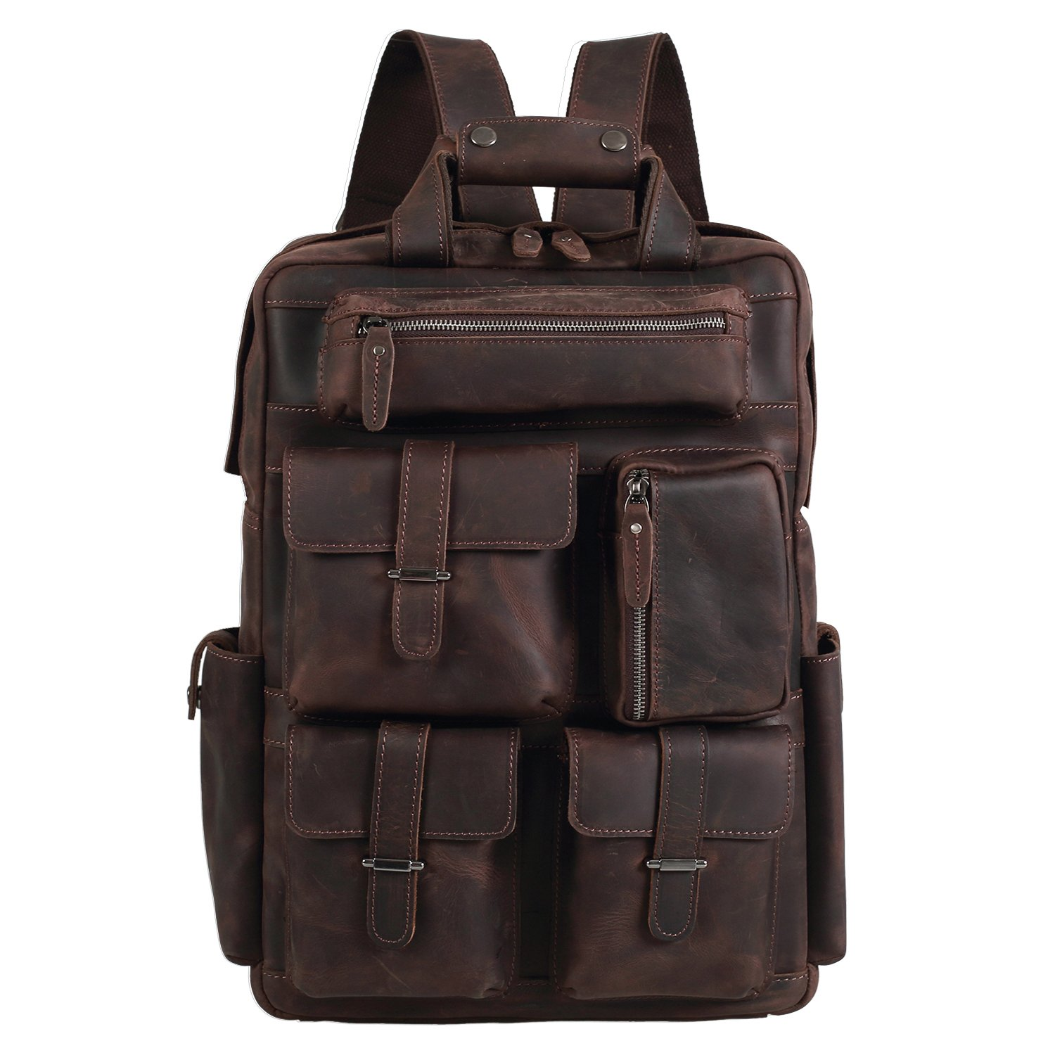 Texbo Cowhide Leather Multi Pockets Laptop Backpack Travel Bag Fit 17 Inch Laptop