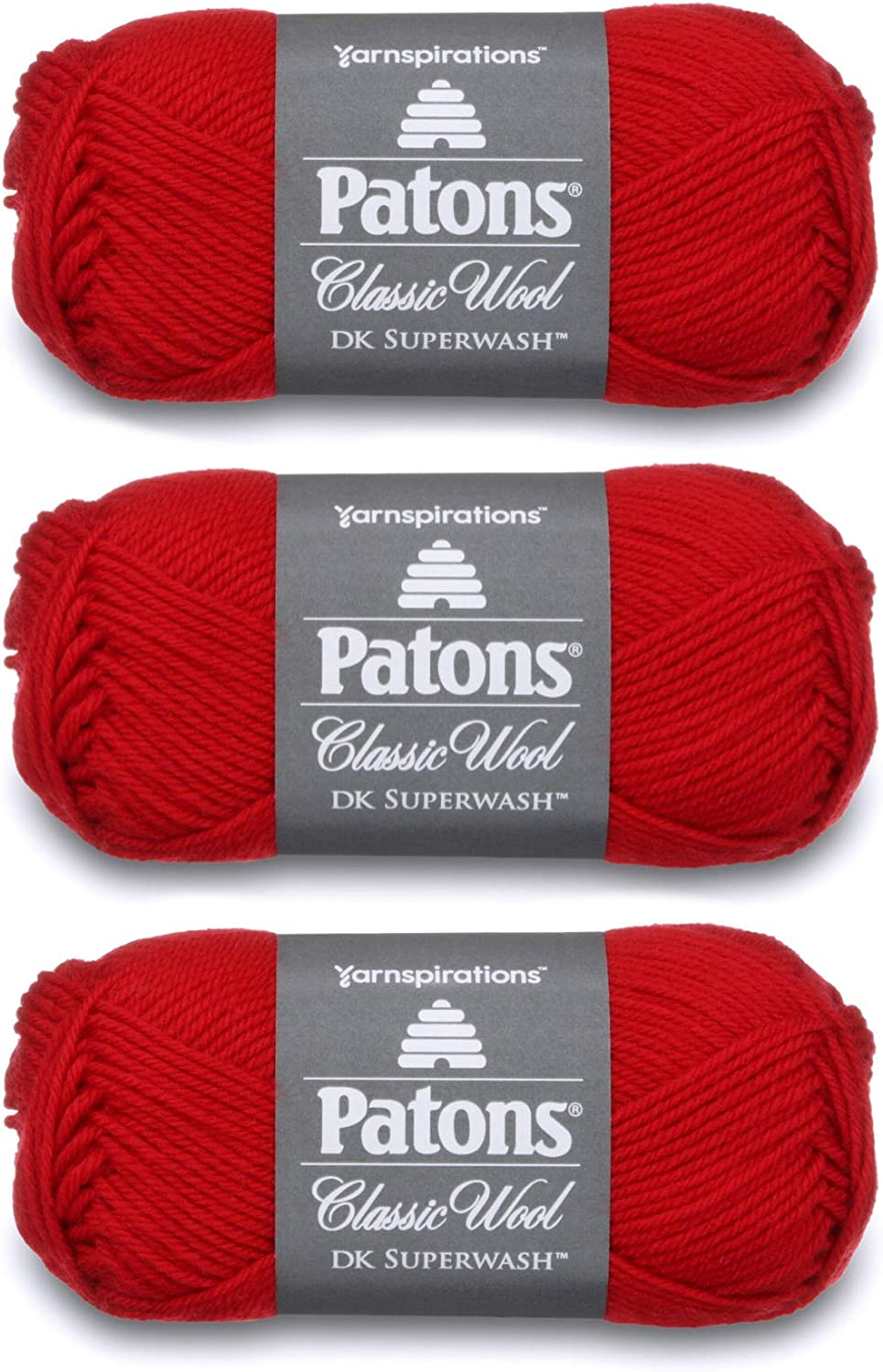 Patons Classic Wool DK Superwash Yarn - Gauge 3 Light - 100% Wool - (3-Pack) - Red - for Crochet, Knitting, and Crafting