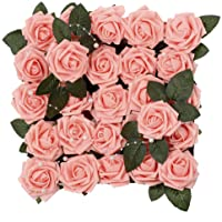 Meiliy 60pcs Artificial Flowers Rose Heads Real Looking Foam Roses Bulk w/Stem for DIY Wedding Bouquets Corsages…