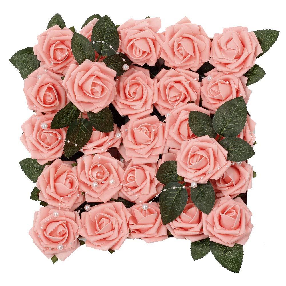 Meiliy 60pcs Artificial Flowers Blush Pink Roses Real Looking Foam Roses Bulk w/Stem for DIY Wedding Bouquets Corsages Centerpieces Arrangements Baby Shower Cake Flower Decorations