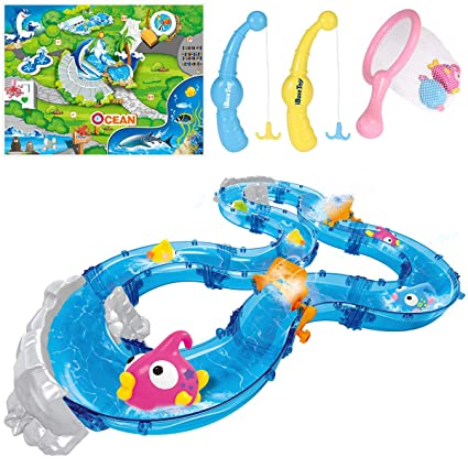 iBaseToy Angelspielzeug für Kleinkinder, buntes schwimmendes Badespielzeug mit Wasserspur, Fischen, 2 Fischstraßen und mehr -