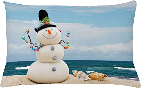 Amazon Com Ambesonne Snowman Throw Pillow Cushion Cover Winter Vacation Holiday Theme Snowman With Seashells Sitting On Sandy Beach Coastal Decorative Rectangle Accent Pillow Case 26 X 16 Blue Sand Home Kitchen