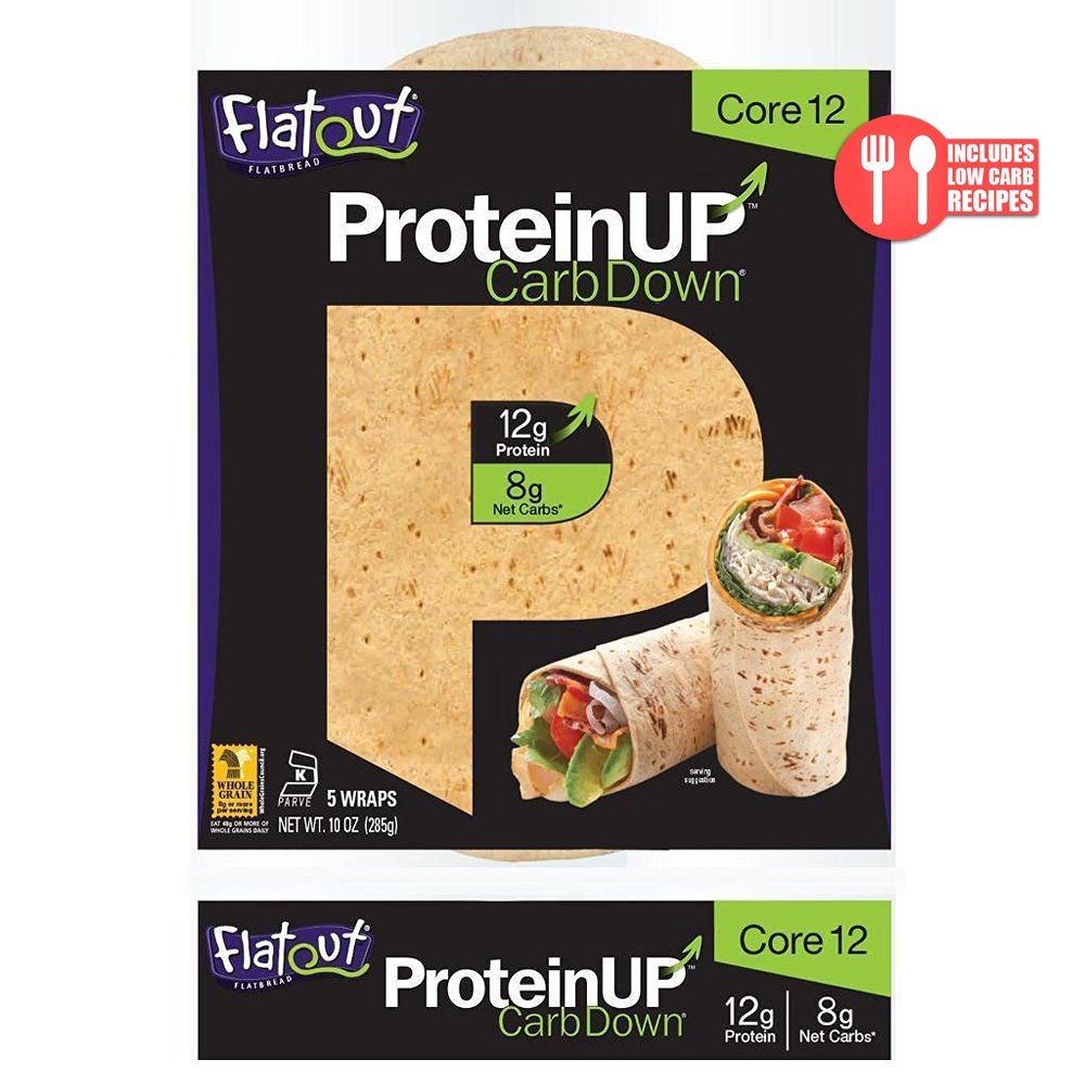 Flatout ProteinUP Flatbread, Low Carb Wraps, 5 Wraps (Core 12)