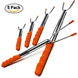M KITCHEN WORLD Marshmallow Roasting Sticks | Telescoping Smores Skewers Hot Dog Extending Stainless Steel Fork | Extra Long 3.75 FT-45''|Set of 5|Fire Pit, Camping, Campfire, Bonfire Kids
