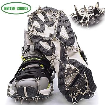 LYSHION Crampons para Zapatos, tracción Antideslizante para Tacos de Hielo con 19 Pinchos de Acero Inoxidable para Caminar, Correr, Escalada, ...