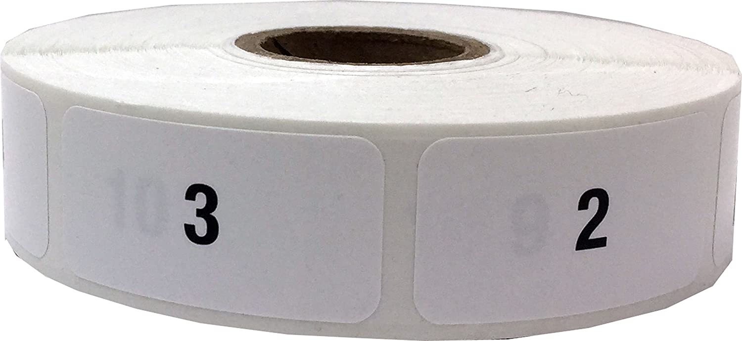 Amazon com white with black 1 1000 consecutive number stickers 3 4 inch x 1 1 2 inch wide 1 label per number 1000 total labels office products