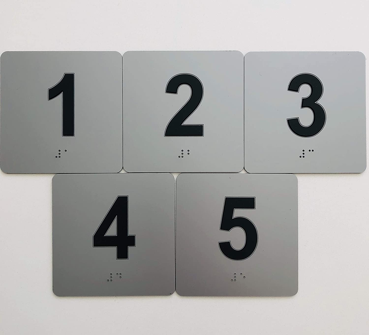 Exam Room/Office Sign Numbers (1-5) w/Braille, ADA Compliant, Easy Mounting (Black/Gray)