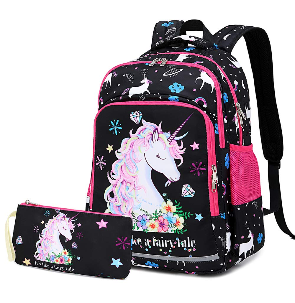 Light Pink - 3 Pices Girls Backpack for Kids Elementary Bookbag Girly School Bag with Insulated Lunch Tote and Pencil Pouch for Children