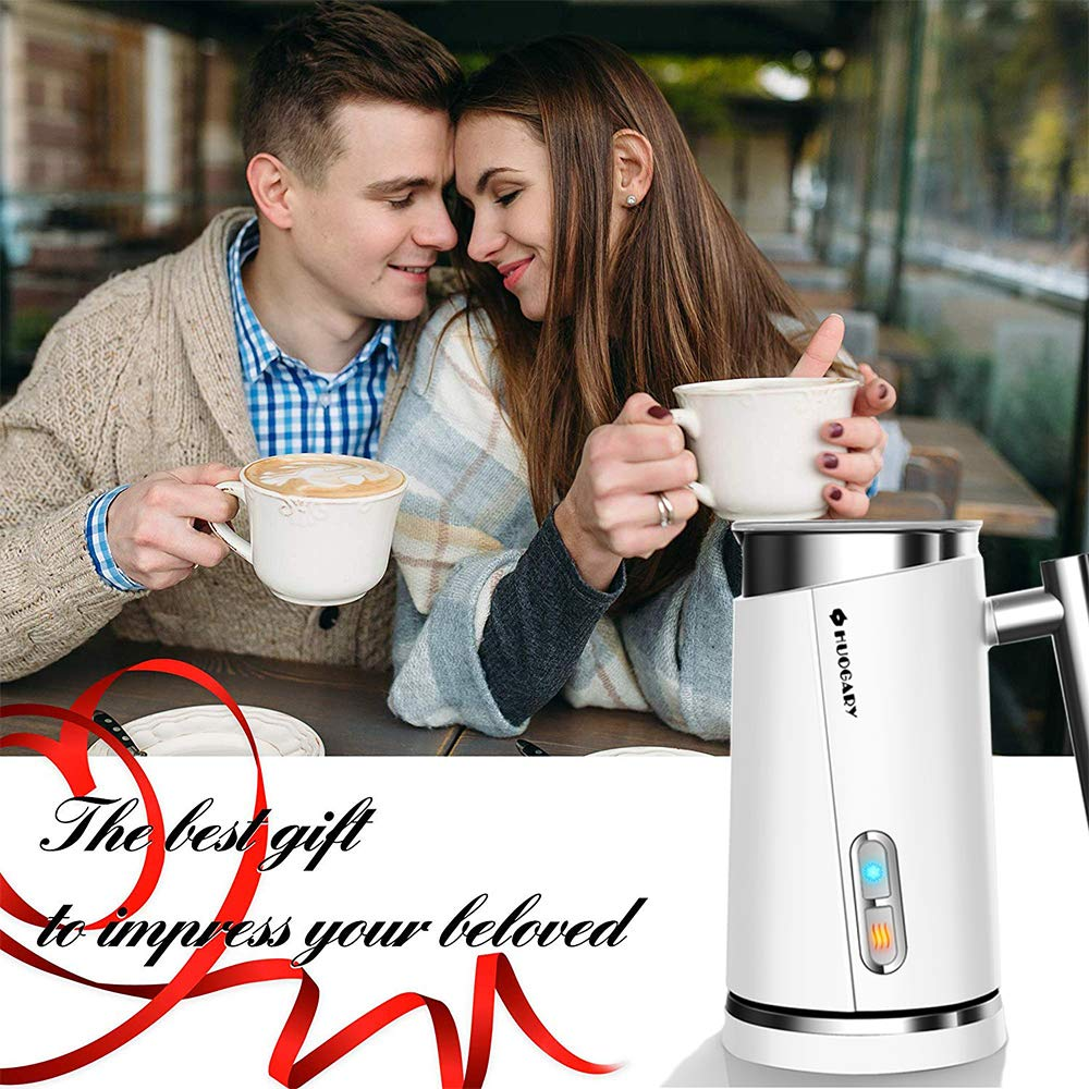 Milk Frother, huogary Stainless Steel Milk Steamer with Hot & Cold Milk Functionality, Automatic Foam Maker For Coffee, Latte, Cappuccino, Electric Milk Warmer, Silent Operation (N11, White) by Huogary (Image #7)