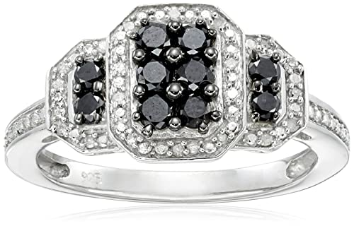 Sterling Silver Black and White Diamond Ring 1 2 cttw, I-J Color, I3 Clarity