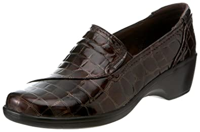 CLARKS Women's May Poppy Loafer,Brown Croc May Poppy Patent,7 M US
