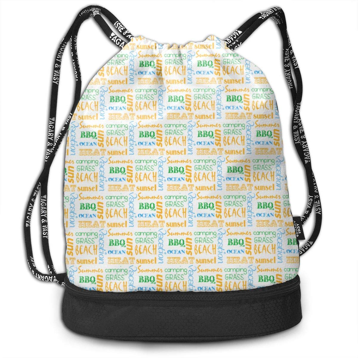 Summerwords Drawstring Backpack Sports Athletic Gym Cinch Sack String Storage Bags for Hiking Travel Beach