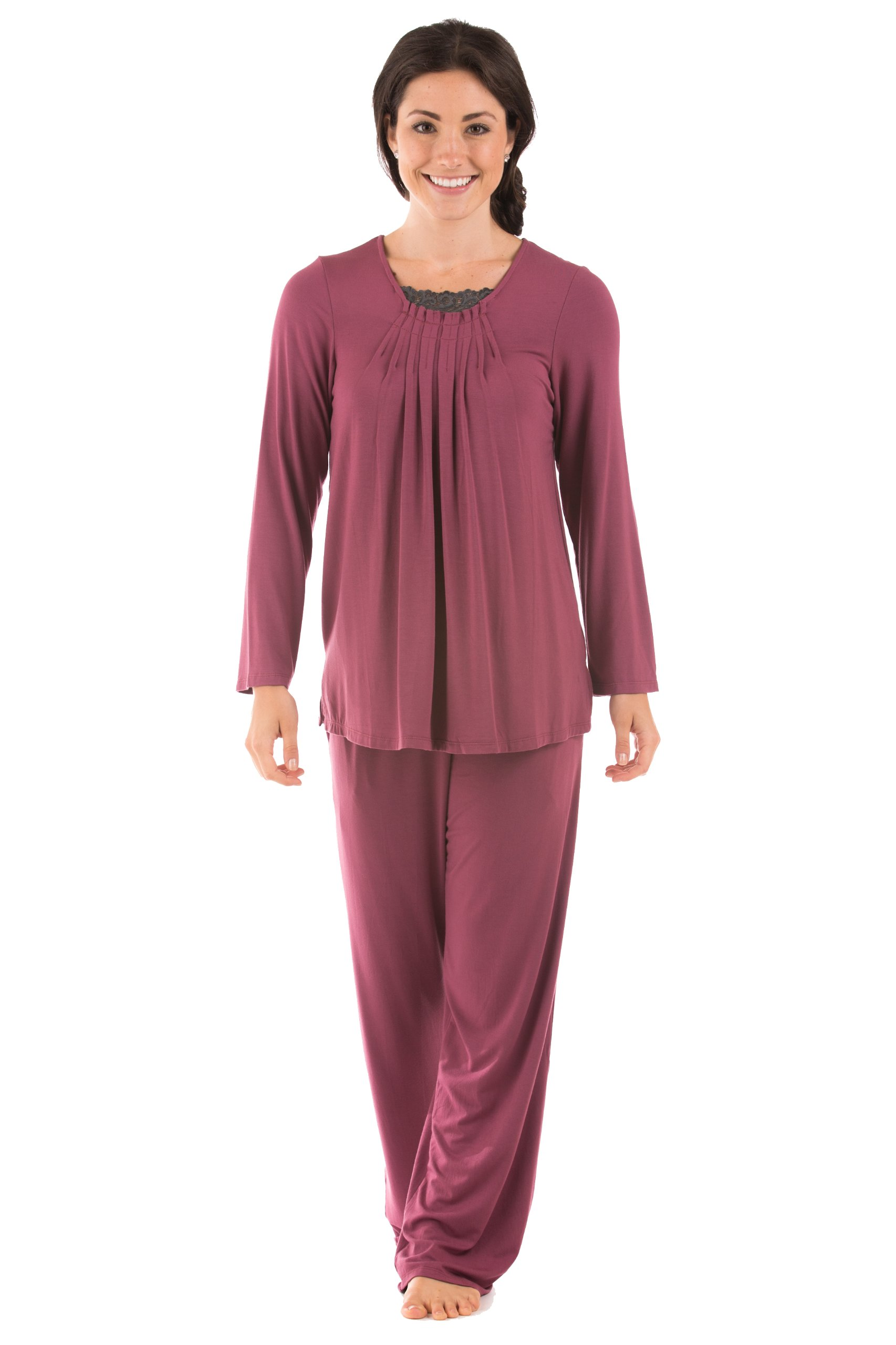 TexereSilk Texere Women's Long Sleeve Pajama Set (Garnet, X-Small/Petite) Unique Gifts for Anniversary WB9993-GNT-XSP