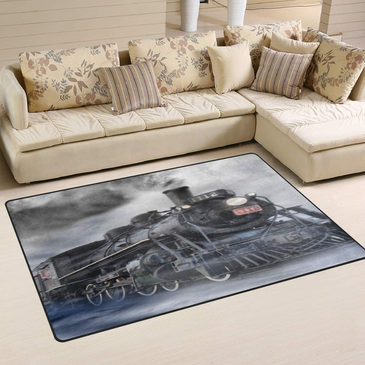Linomo Area Rug Vintage Steam Train Floor Rugs Doormat Living Room Home Decor