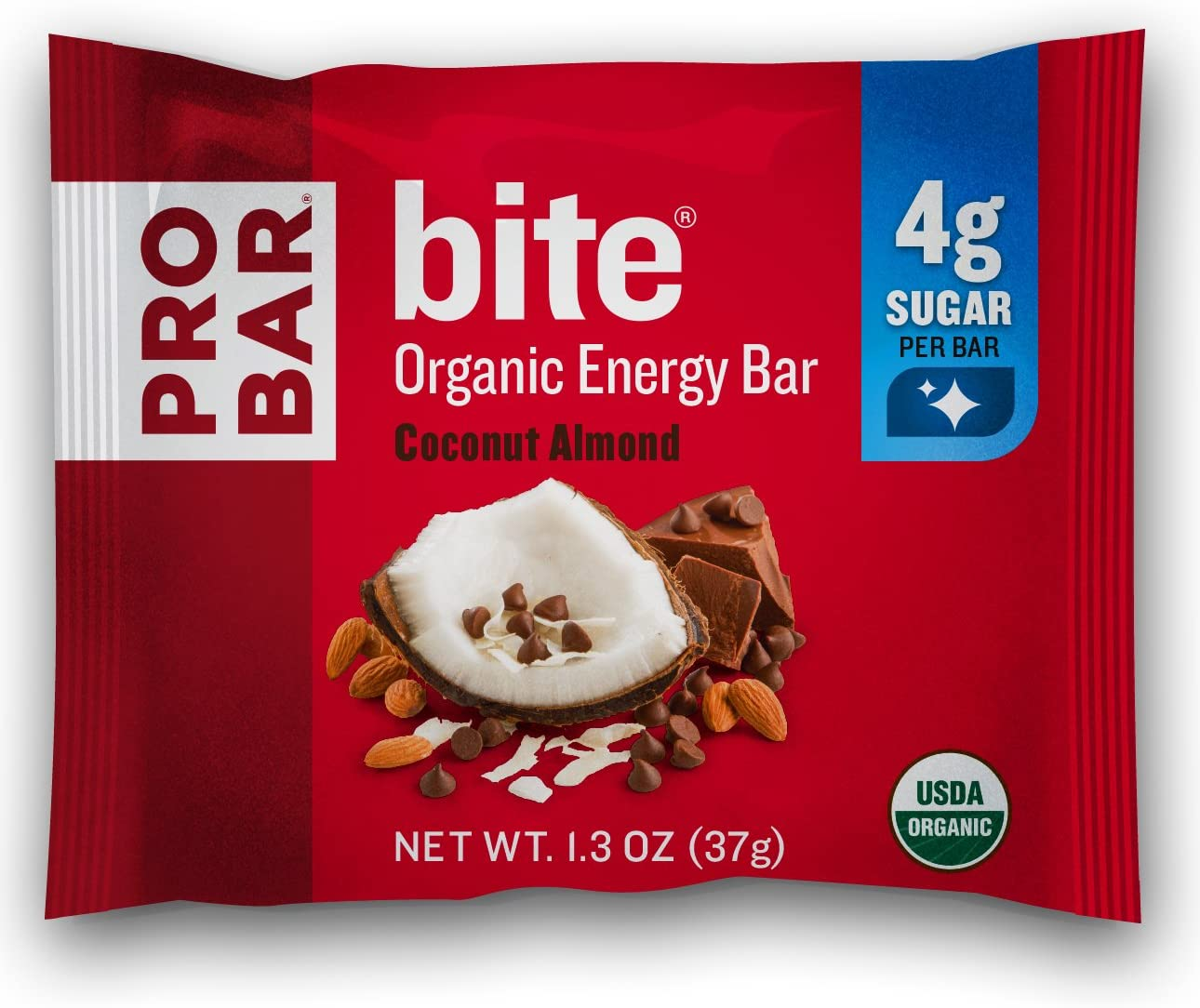 PROBAR – bite Organic Energy Bar – Coconut Almond – USDA Organic, Gluten-Free, Non-GMO Project Verified, Plant-Based Whole Food Ingredients, 6g Protein, 4g Fiber – Pack of 12