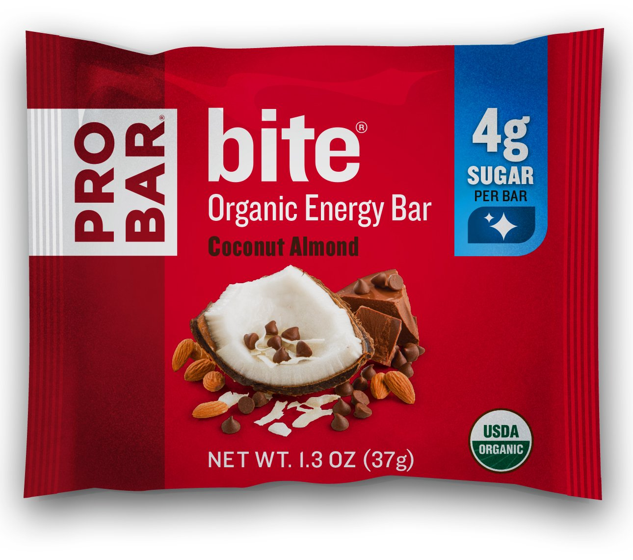 PROBAR - bite Organic Energy Bar - Coconut Almond - USDA Organic, Gluten-Free, Non-GMO Project Verified, Plant-Based Whole Food Ingredients, 6g Protein, 4g Fiber - Pack of 12 by Probar