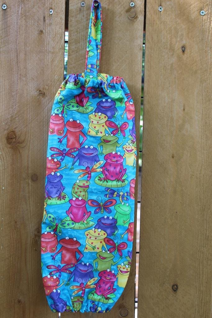 Plastic Grocery Bag Holder Hanger Multi Colored Bright Frogs