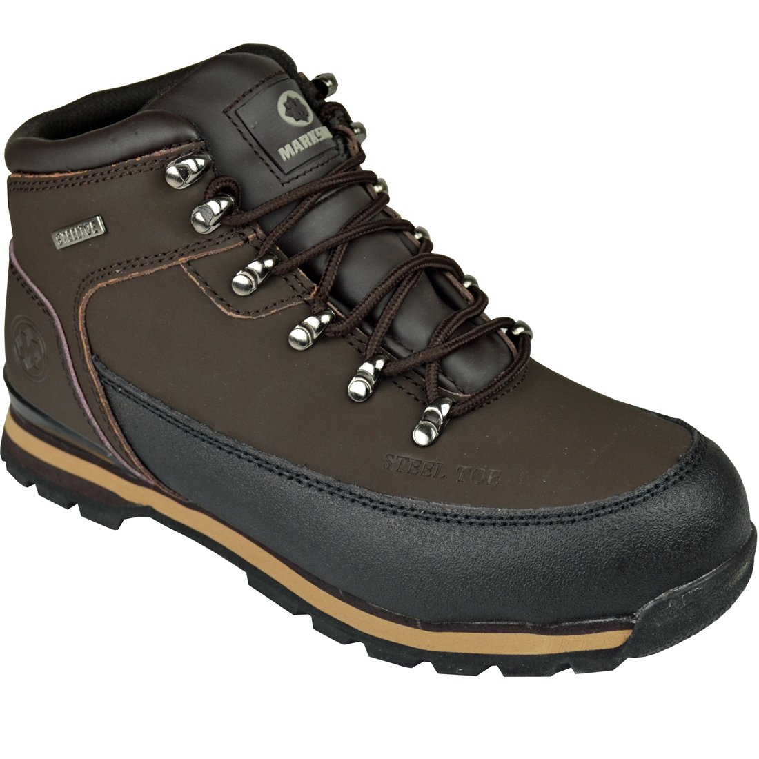 MENS LIGHTWEIGHT STEEL TOE CAP SAFETY WORK HIKING TRAINERS SHOES LEATHER BOOTS