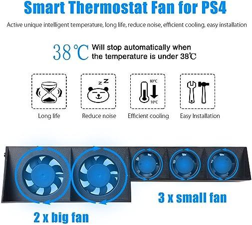 Ventilador de refrigeración para PS4 Turbo – ElecGear Externo USB Cooler Auto Control de Temperatura Radiador Sony Playstation 4 Consola: Amazon.es: Electrónica