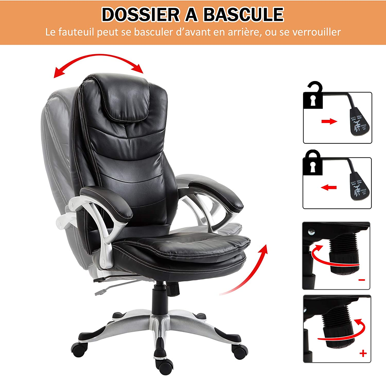 Bureau Homcom Noir Fauteuil Manager Cuir Assise de Confort accoudoirs Simili Double Grand Rembourrage Dossier cTK3F1lJ